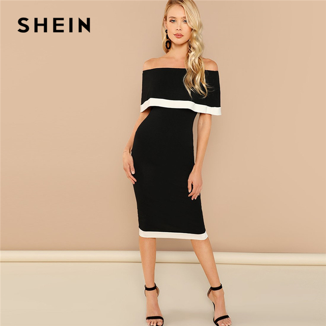 fe84c5841 SHEIN Black and White Going Out Weekend Casual Off Shoulder Striped Dress  2018 Summer Short Sleeve Elegant Dress Women Dresses