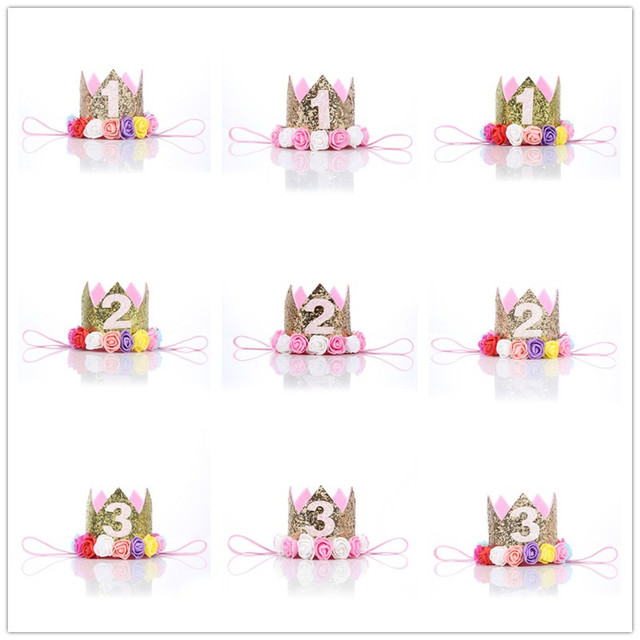 1 Pcs Lovely Boy Gold First Birthday Hat Girl Priness Crown Number 1st 2 3 Year Old Party Headband Decor