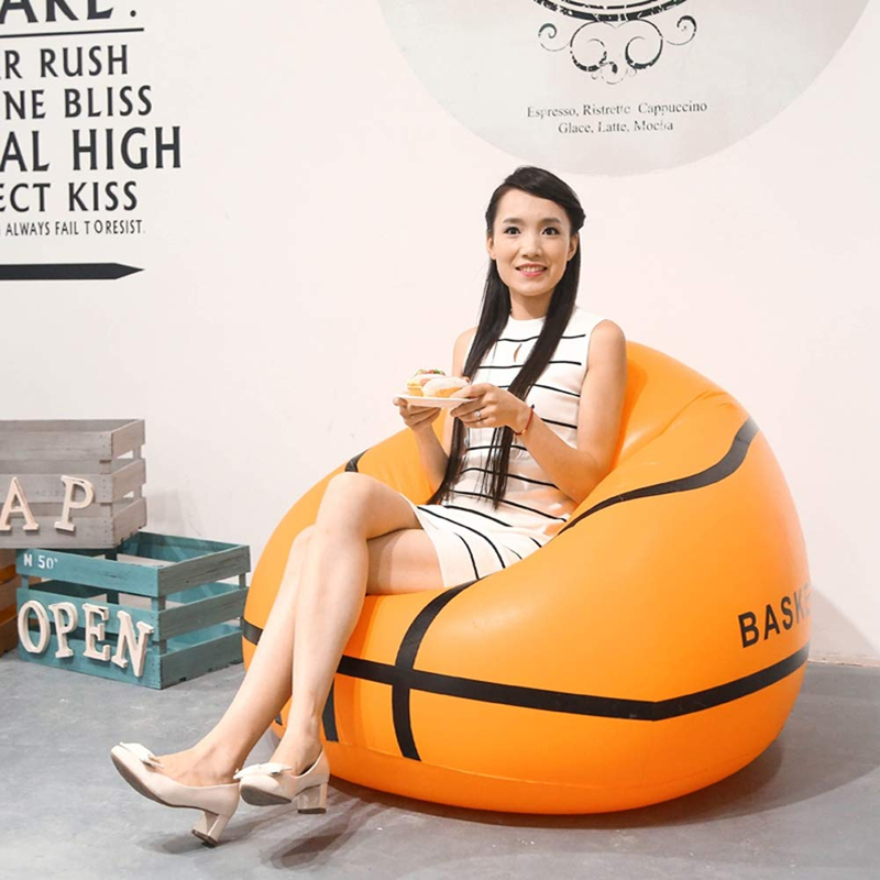 Durable Pvc Basketball / Football Inflatable Beanless Bean Bag Chair, Super Comfy Chair Easy To Inflate For Adults/kids Soft And Antislippery