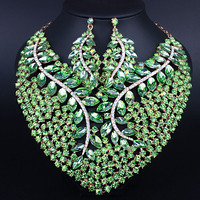 Bridal Gift Nigerian Wedding African Beads Jewelry Set Fashion Dubai Crystal Jewelry Sets Costume Design Big