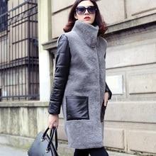 Овечий мех шерсть берберский флис мех цельное Женское пальто средней длины верхняя одежда