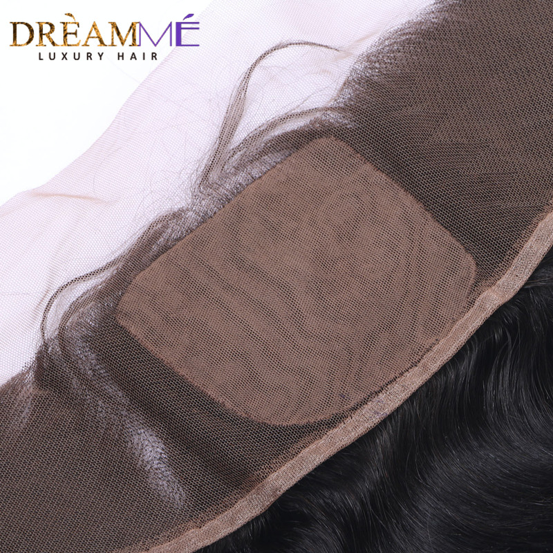 Dreamme Hair Brazilian Body Wave Silk Base Lace Frontal Closure 13x4 With Baby Hair Double Knots Remy Human Hair Closure