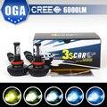 OGA 2 PCS H8 H9 H11 LED Farol Cree LED Chips LED Auto Lâmpadas de farol de Carro Auto Farol Nevoeiro Cabeça de Condução Luzes Com 5 Cores