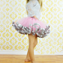 Satin Trim Tutu Pink And Grey Ribbon Trim Tutu Baby Girl Photo Prop Birthday Tutu Skirts Free Shipping