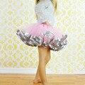 2016 chica de Moda Ocasional de La Gasa Del Tutú Rosa Y Gris de La Cinta Pettiskrit falda Niña Fiesta de Cumpleaños vestido de Bola Para 8 T niñas