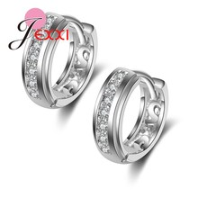 PATICO Fashion Silver Earrings With Stones For Women Imitated Crystal Hoop Earrings Ear Jewelry Korean Style