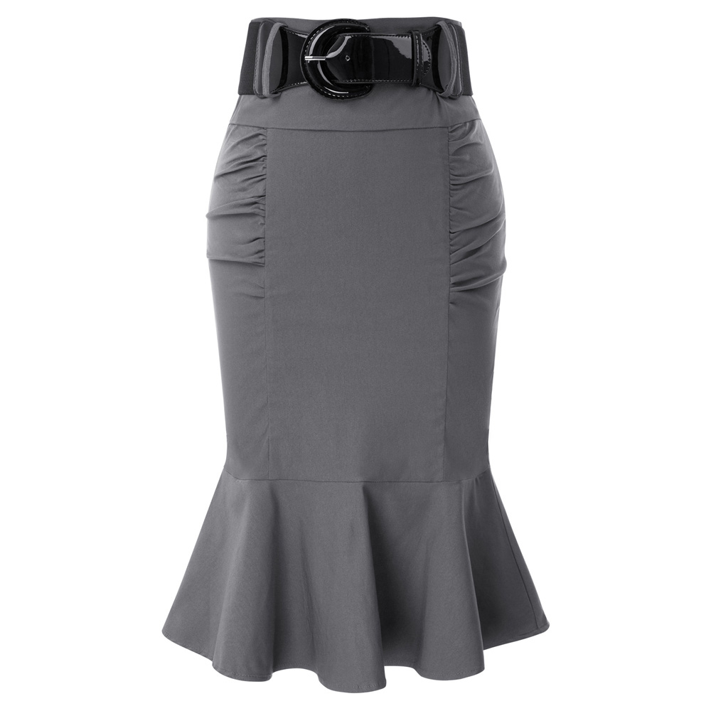 Vintage Mermaid Skirt Work Office Skirts Womens 2018 Ladies Trumpet High Waist Summer Casual Bodycon Pencil Skirt With Belt