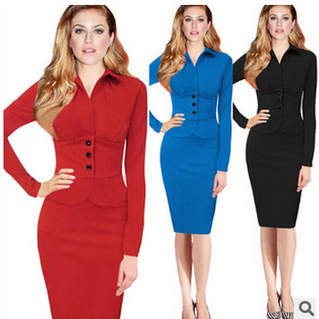 2015 autumn and winter Couture false two Lapel long sleeved button stitching temperament pencil  dress  rockabily dress
