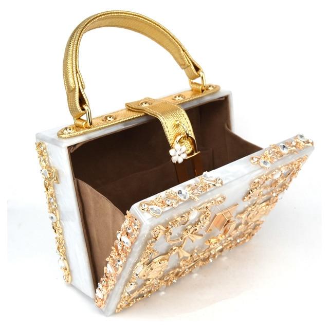 Fashion Box evening bag diamond flower Clutch Bag hollow relief Acrylic luxury handbag banquet party purse women's Shoulder bag 2