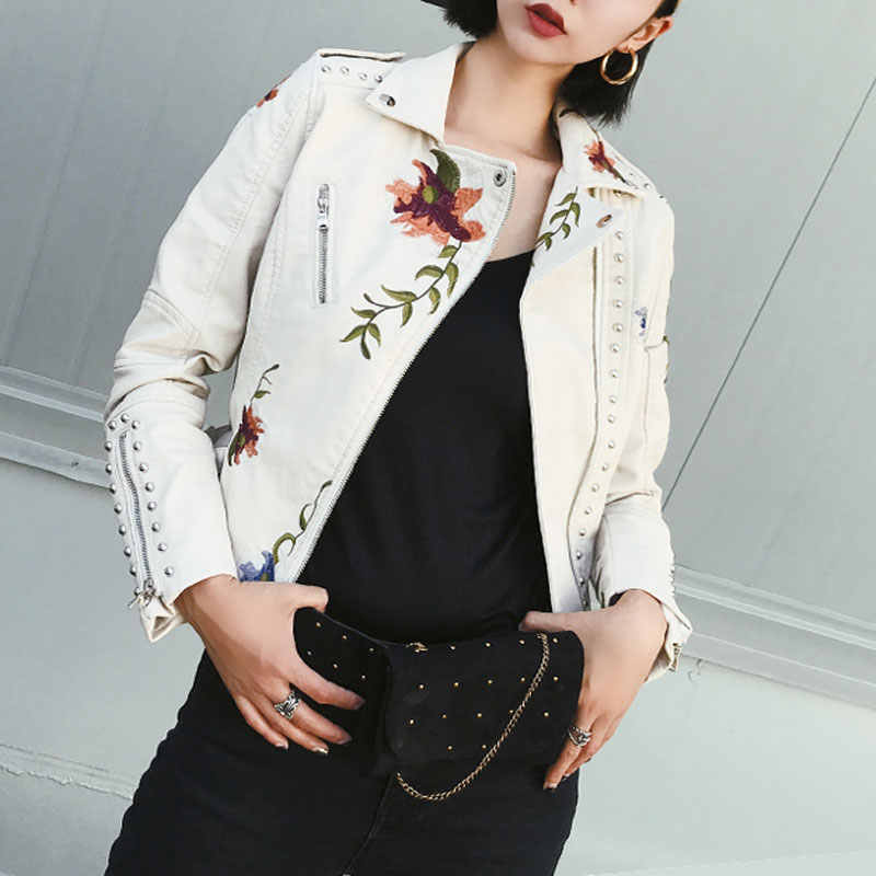 Embroidery Flowers Rivets Leather Jacket Women Punk Moto Coat Faux Jacket jaquetas couro Casaco Jacket Blazer casacas para mujer