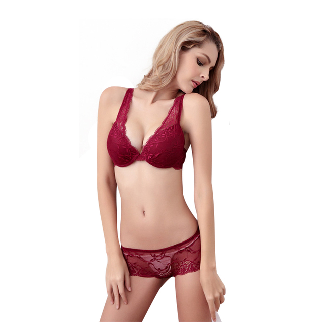 f109d3f58b1 Fashion thin thick female underwear sexy lace small adjustable push up bra  set v sexy lingerie