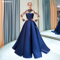 Navy Blue Gorgeous Beaded Crystals High Neck Evenig Dress Long Tulle Sleeves Elegant Formal Dress Chic Wine Red Women Gown