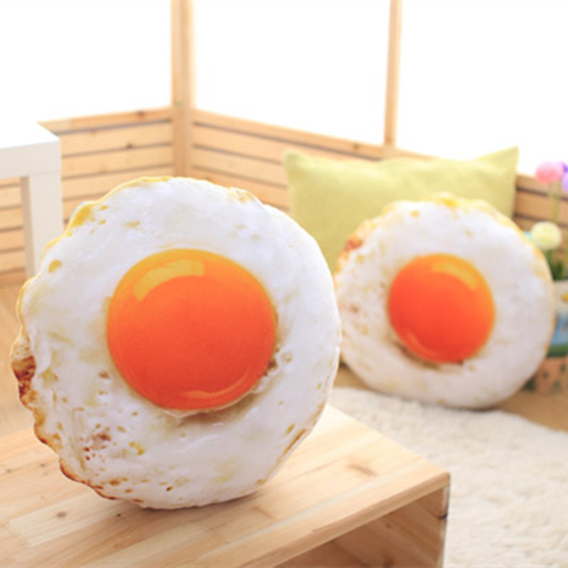 40cm Free Shipping Simulation Stuffed Cotton Soft Fried Egg Cushion Sleeping Pillow Plush Baby ToyStuffed Poached Egg Food  Doll