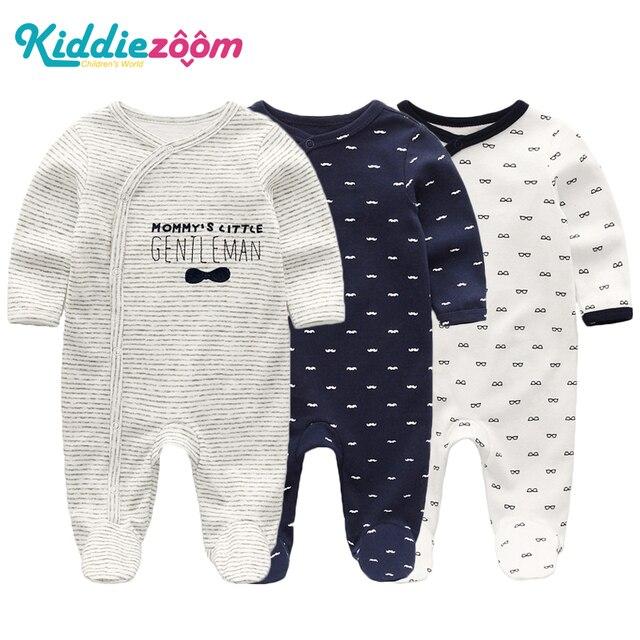 2019 Kız Giyim Unisex 0 12 M Pamuk Bodysuits Bebek Kız Giysileri Yeni Doğan Yıldız Çizgili Erkek Bebek Giysileri Ropa bebe 2/3 ADET
