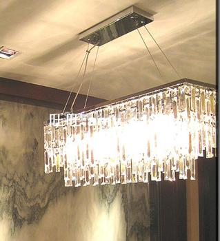 現代長方形k9クリスタルシャンデリア家の装飾光沢クリスタルのペンダントシャンデリアランプレストラン照明器具luminiare