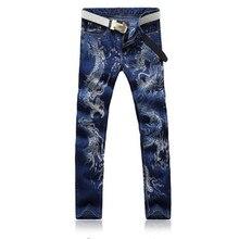 2017 männer Jeans Neuen Chinesischen Stil Persönlichkeit Mode Tier Drachen Muster Gedruckt Denim Lässige Jeans Hochwertigen Hosen 28-38
