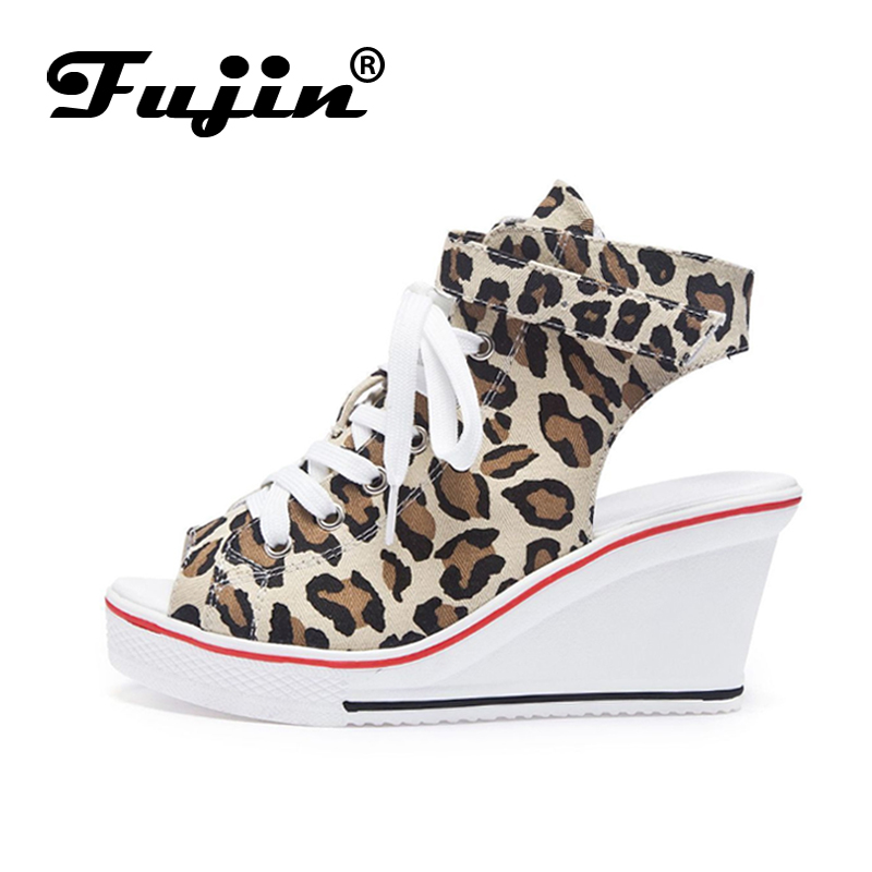 Fujin Sandals Wedge Canvas Shoes Fish-Mouth-Shoes Large-Size Buckle Casual with 8cm Increased
