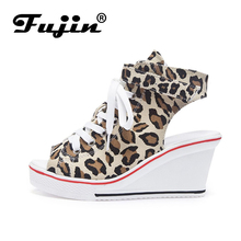 Fujin Wedge with Fish Mouth Shoes Dropshipping Sandals 8 Cm Increased Casual Canvas Muffin Buckle Women Large Size