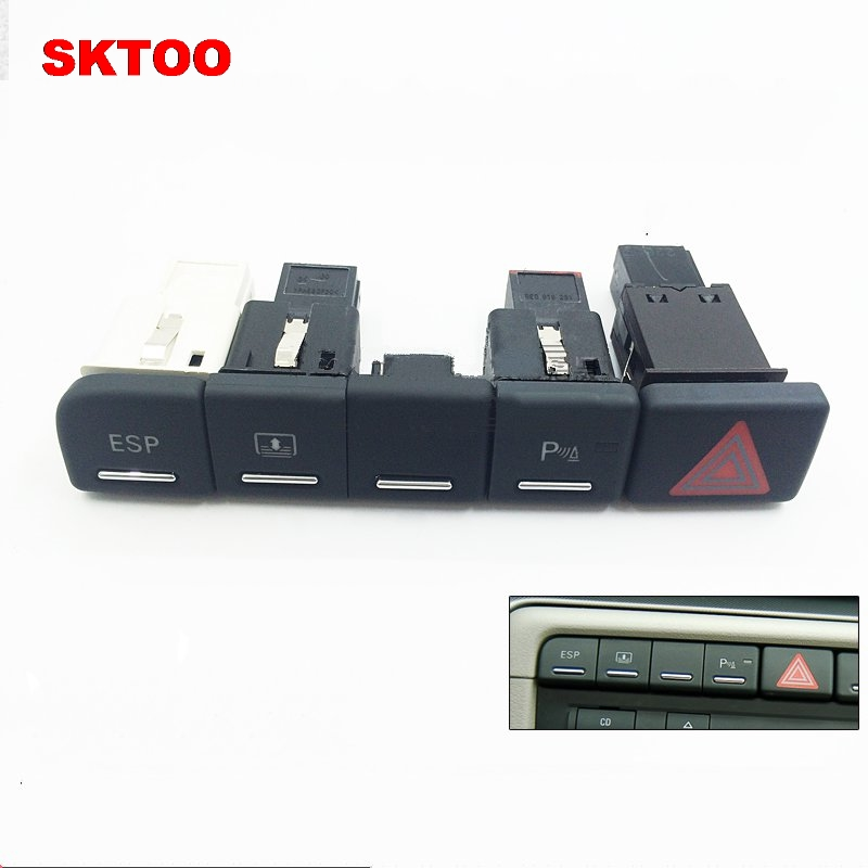 SKTOO Radar Reversing Switch, The Flash Switch Bis ESP Switch Parking Auxiliary BUTTON FOR AUDI A4 B6 B7 S4 2002-2008