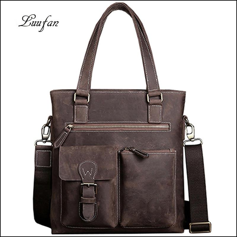 Crazy horse leather men shoulder bags vintage genuine cow leather messenger bag men handbag big capacity business tote for male