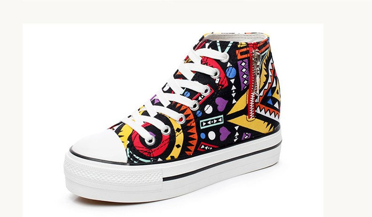 2016 spring summer high top canvas women shoes flower color graffiti Height Increasing casual women canvas shoes ST809 (10)