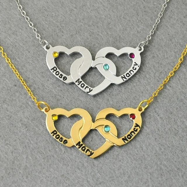 Персонализированные Трехместный Сердце Ожерелье, пользовательские 3 Имен, 925 Серебро Персонализированные Ожерелье, переплетаются Сердца, камень Ожерелье