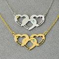 Personalizado Colar Triplo Do Coração, personalizado 3 Nomes, 925 Colar de Prata Personalizado, Corações entrelaçados, Birthstones Colar