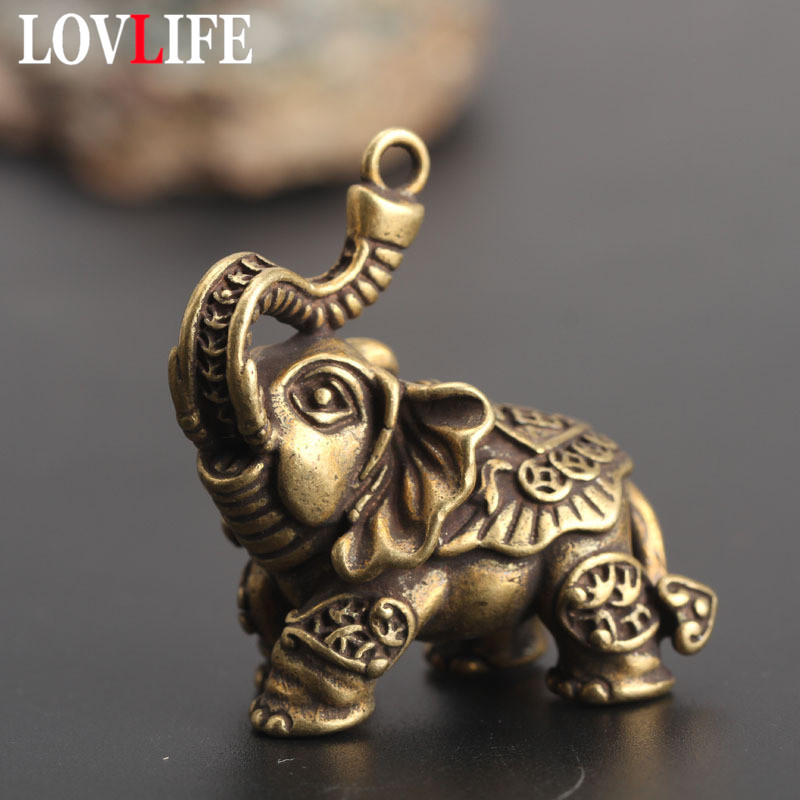 Copper Auspicious Elephant Keychain Pendant Vintage Brass Metal Animal Key Chains Ornaments Keyrings Pendants Key Rings Jewelry