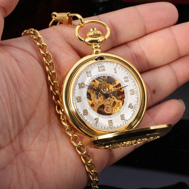 2017 Antique Luxury Brand Men's Pocket Watch Mechanical Skeleton Golden Watch Vintage Bronze Retro Watch Chain Band Clock