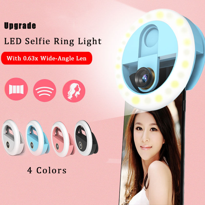 LED selfie ring light for phone photography ring lamp led selfie ring light youtube for iphone 0 63x deformation Wide-Angle lens