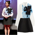 De la mujer 2016 primavera conjunto nuevo sol Jiang Muyan Song Hye Kyo descendientes mismo estilo de impresión de tinta camisa de vestir