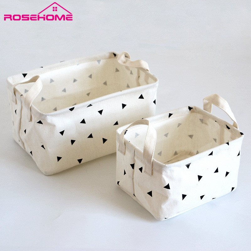 ROSEHOME Desk Storage Box Linen Cotton Geometry Pattern Storage Organizer Cloth Storage Basket Cosmetic Case Organizer