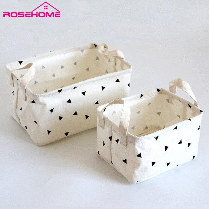ROSEHOME Desk Storage Box Linen Cotton Geometry Pattern Storage Organizer  Cloth Storage Basket Cosmetic Case Organizer