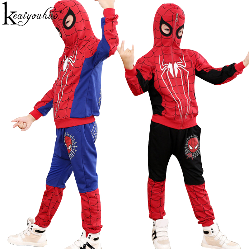 Spiderman Sets Autumn Boys Clothes Sets Long Sleeve Children Clothing Hooded Outfits Baby Boy Sport Suits Costume For Kids 2 Pcs 2017 kids clothes children boys summer clothing sets baby spiderman batman short sleeve suits roupas infantis menino costume