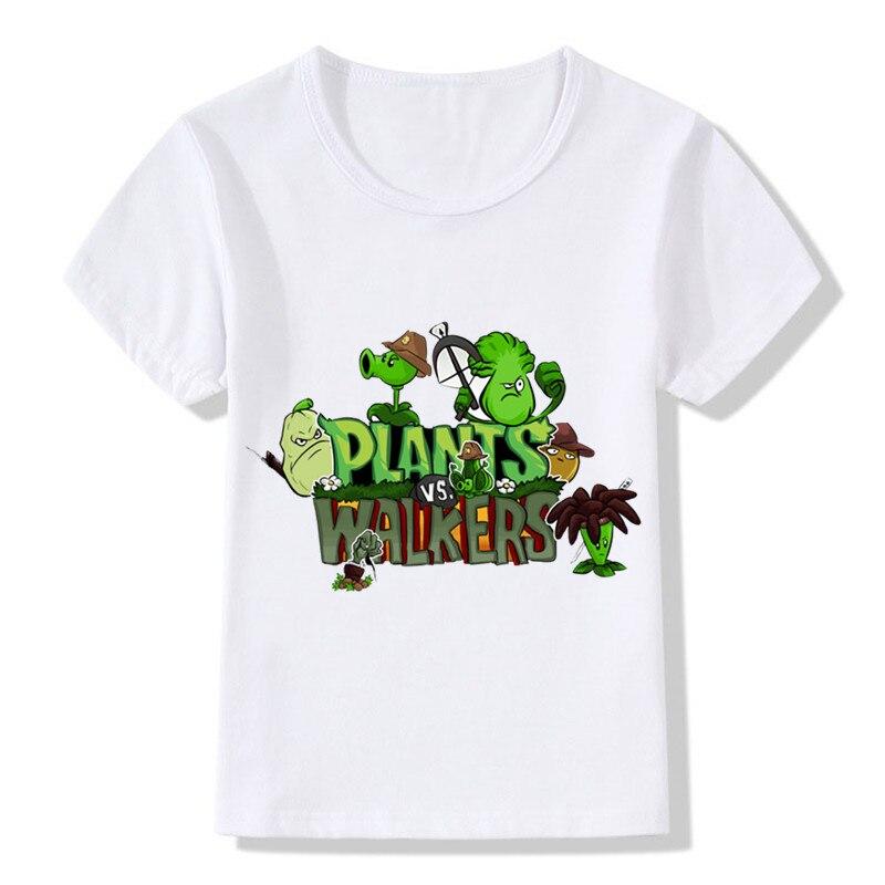все цены на 2018 Children Cartoon Plants Vs Zombies T shirt Kids Summer Tops Girls Boys T-shirt Cute Baby Clothes,HKP2083 онлайн