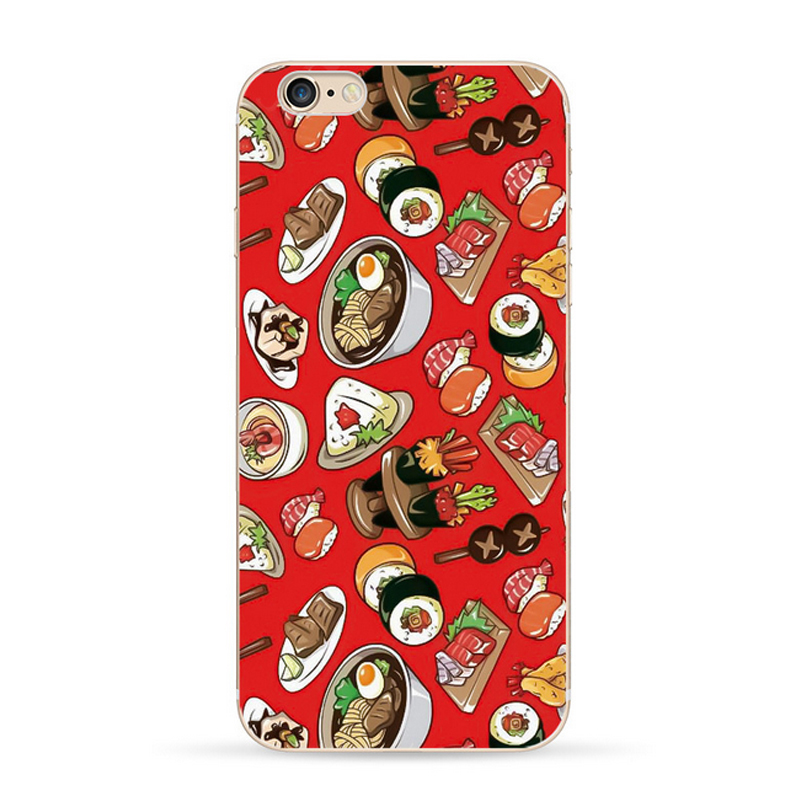 for iPhoneSE 5 5s TPU Case Sushi Bread Printed & Colourful Plants Flowers Printed Transparent TPU Soft Cover for iPhone SE 5 5s