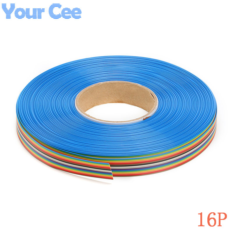 Rainbow Ribbon Cable 4 Conductor : Meter mm spacing pitch way pin flat color