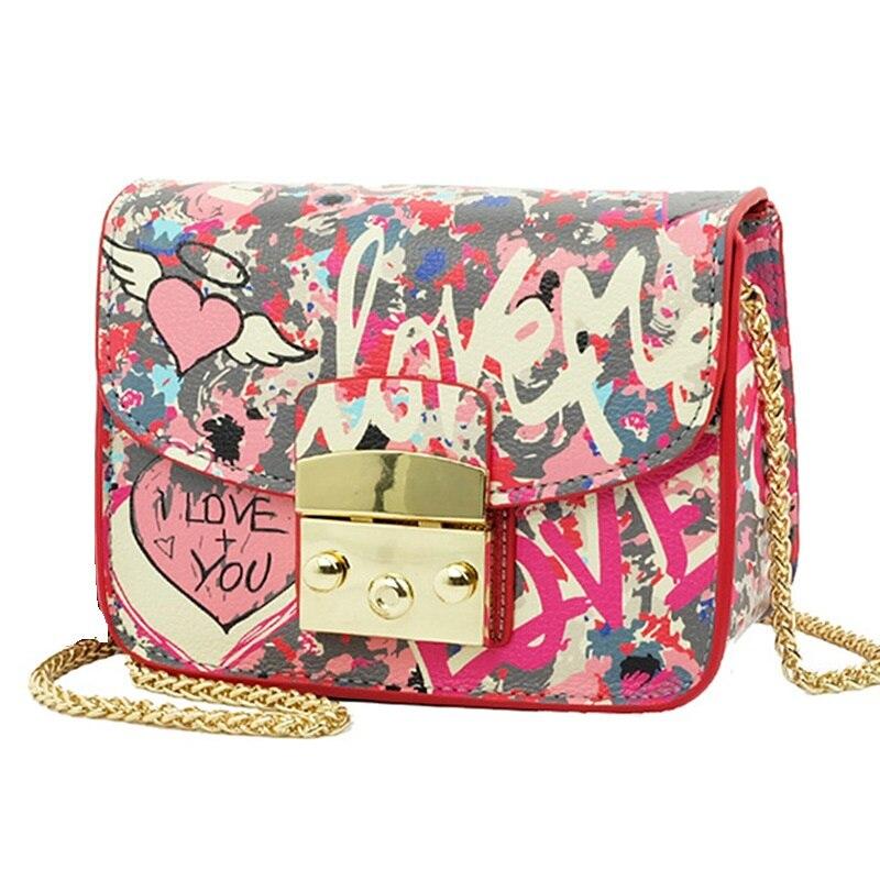 2016 été Graffiti amour Mini Plap femmes PU sacs à bandoulière sacs à main femmes marques célèbres couverture chaîne sacs à bandoulière pour femmes