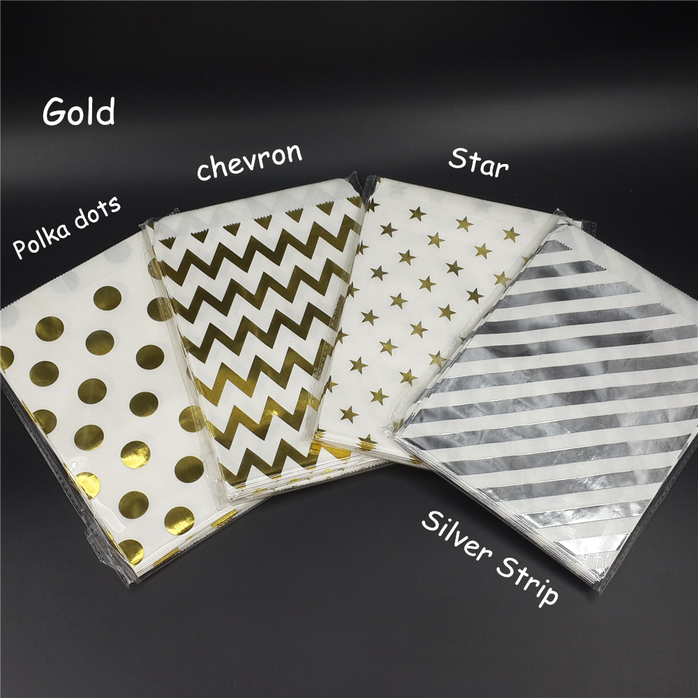 Chevron Gold Foil Favor Bags Polka Dots Gold Candy Bags Wedding Favors Goody Bags Printed Paper