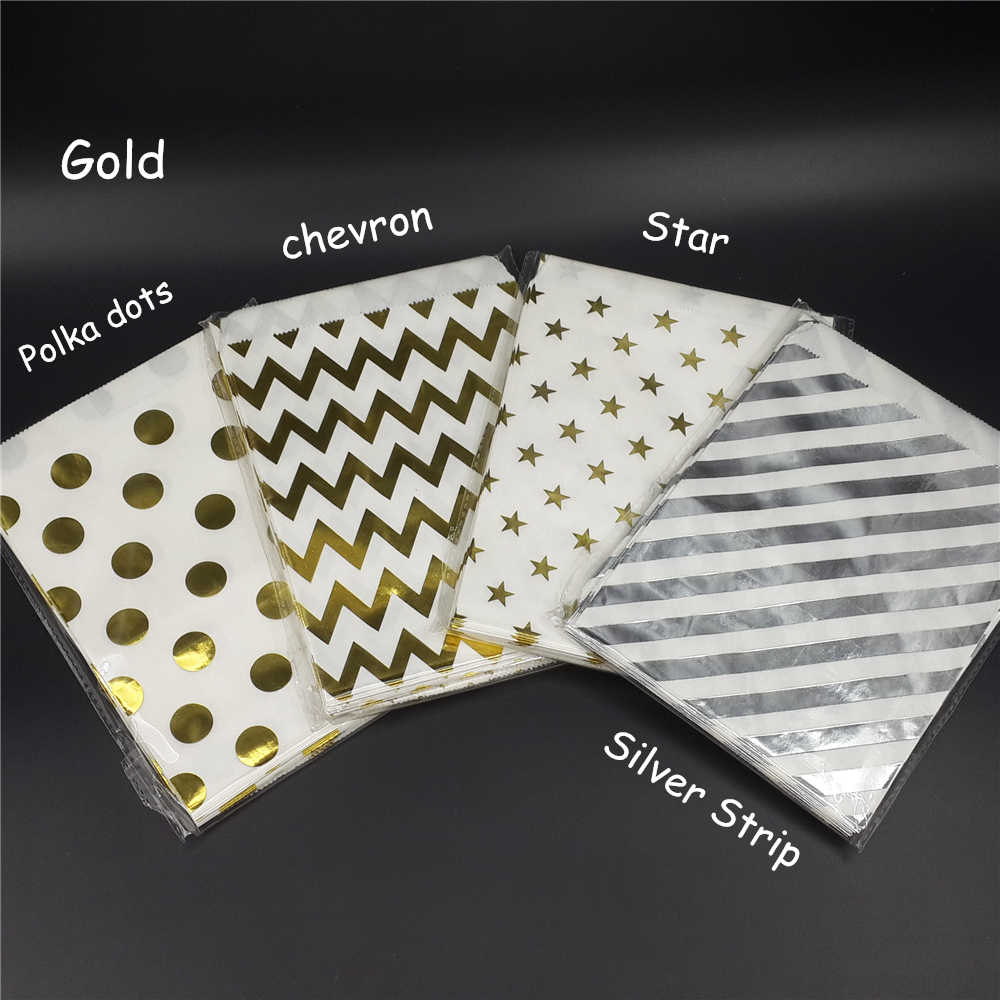 Chevron Gold Foil Favor Bags Polka Dots