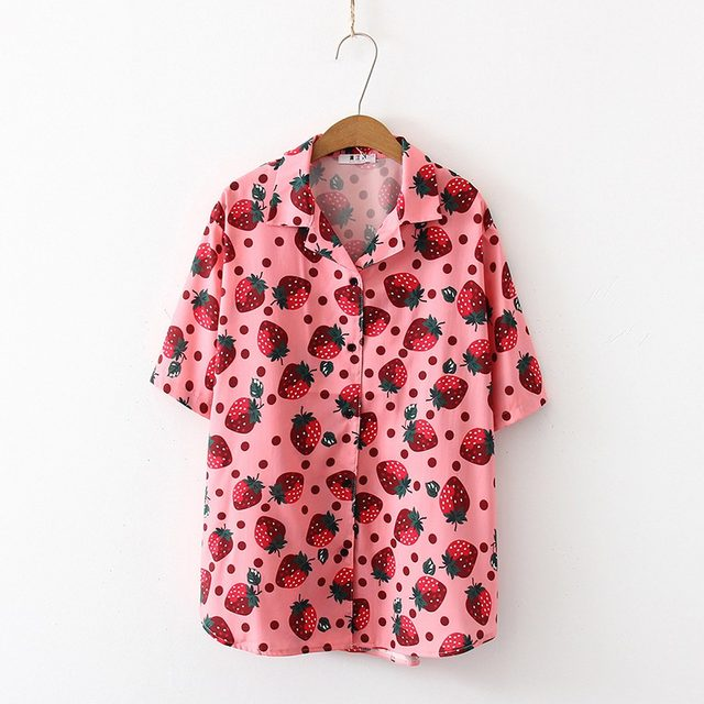 2019 New Women Blouses Holiday Casual Short Sleeve Tops Ladies Strawberry Printed Shirt Korean Summer Fashion Women Clothing 20