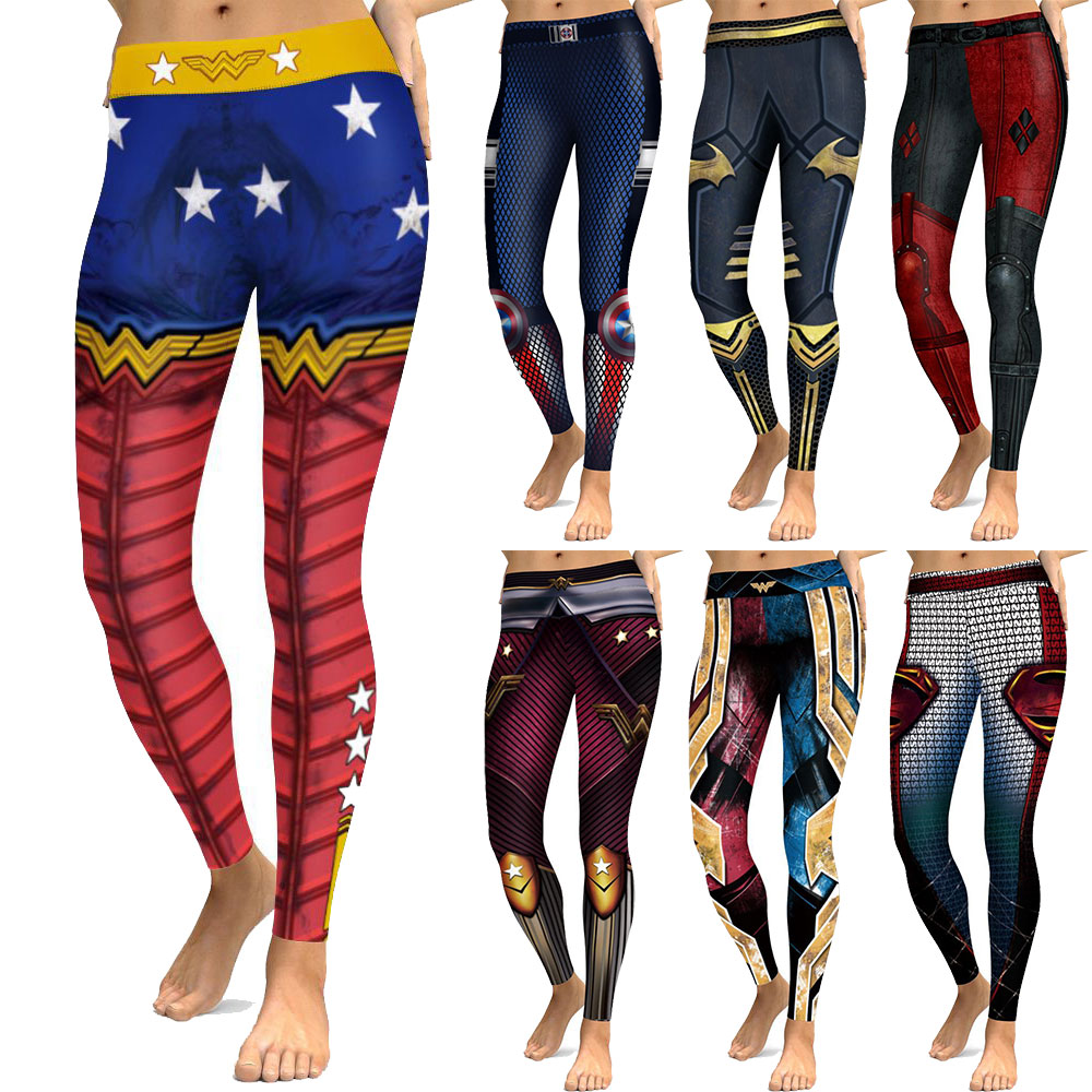 New 026 Comic Wonder Woman Superman Batman Prints Elastic Slim Fitness Workout Push Up Sexy Femme Pencil Pants Women   Leggings