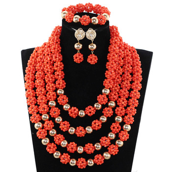 2017 New Nigerian Beads Jewelry Set Gorgeous African Coral Beads Bridal Jewelry Set Coral Balls for Wedding Free Shipping ABH581