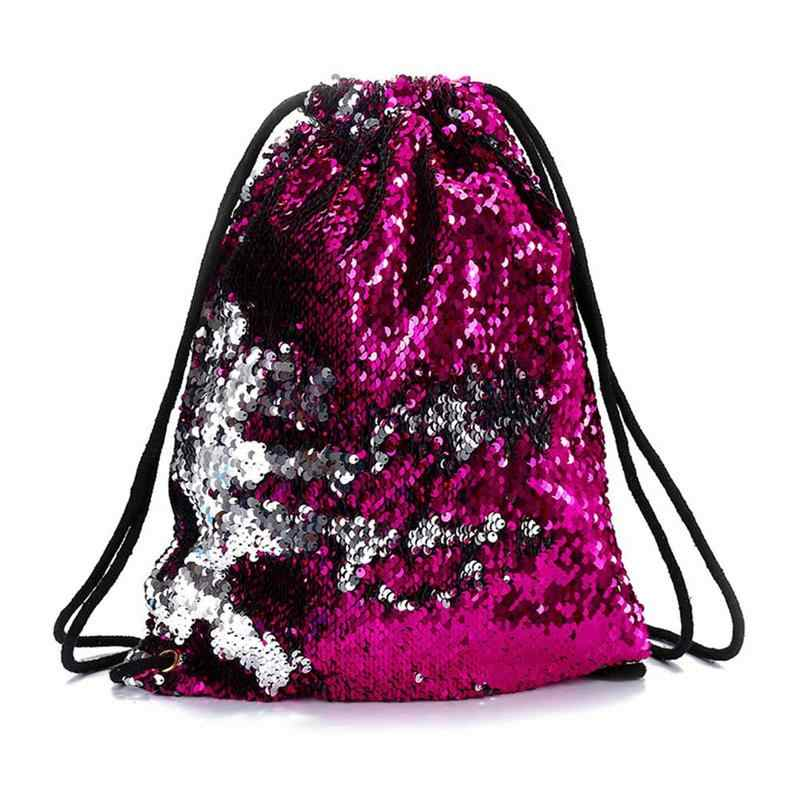 ... Fashion Mermaid Sequins Drawstring Backpack Women Glitter Bling  Shoulder Bags Reversible Beach Bag Girls Travel Casual ...