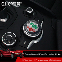 QHCP Zinc Alloy Car Central Control Console Knob Logo Sticker Decoration Special For Alfa Romeo Giulia Stelvio Auto Accessories