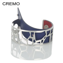 Cremo Giraffe Dainty Argent Cuff Bangles For Women Bijoux Stainless Steel Braccelets Manchette Femmes Reversible Leather Bangles(China)