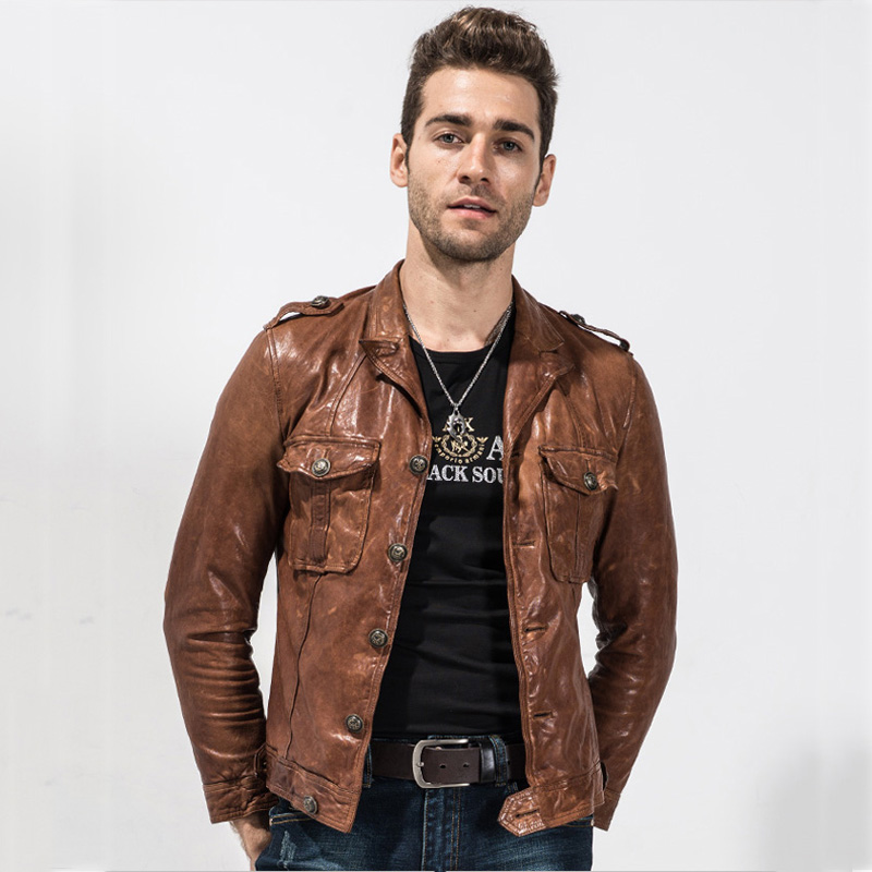Mens Genuine Leather Jacket Slim Fit Short Casual Coat Real Goatskin Rider Outerwear Brown Color Fashion Motorcycle Jacket TJ06