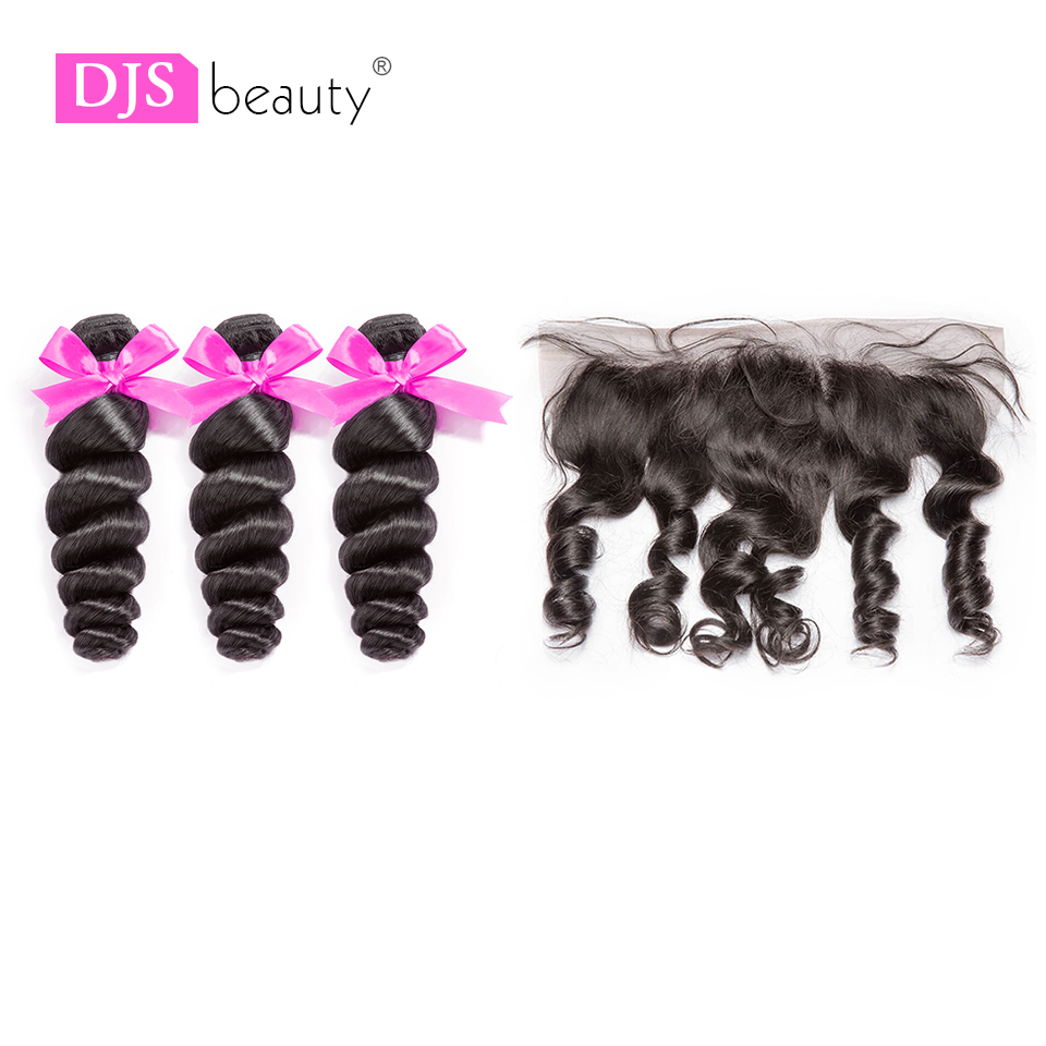 8A Loose Wave Bundles With Frontal Brazilian Virgin Hair Extensions Swiss Lace Free Part Frontal With