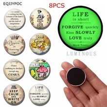 8pcs LIFE Quotes Magnet Fridge 25MM Luminous Glass Refrigerator Decoration Glowing At Night Letters Magnetic Sticker Home Decor