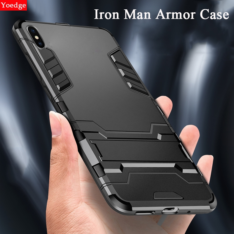 2 in 1 Stand Armor Phone Case For iPhone XS Max XR X 7 8 6 6S S Plus 5 5S SE Back Cover For iPhone 6 7 Shockproof Iron Man Coque image